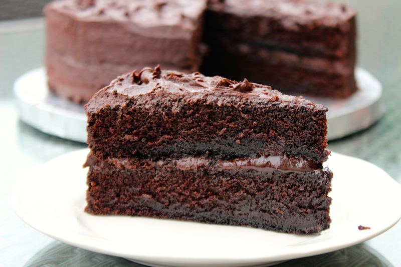 ... ultra fudgy chocolate cake- the best chocolate cake ever! No kidding